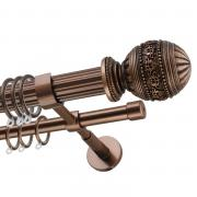 Декоративный карниз для штор Рафаэлло, двухрядный 33/19 мм, коричневый, длина 240 см