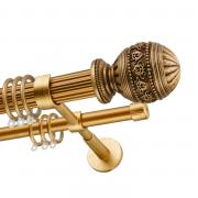 Декоративный карниз для штор Рафаэлло, двухрядный 33/19 мм, золото антик, длина 240 см