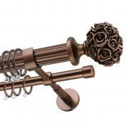 Декоративный карниз для штор Романтик, двухрядный 33/19 мм, коричневый, длина 180 см