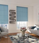 Рулонные шторы Хай тек, однотонные, голубые, 160 x 160 см