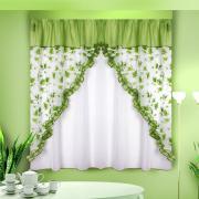 Комплект штор кухня, цвет: зеленый Б077 280*170