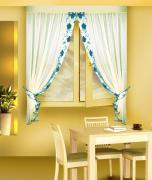 Комплект штор кухня, цвет: голубой Б078 (170*160)*2