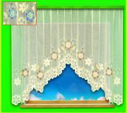 Гардина лента, цвет: крем + голубые цветы 28090/180 180*300