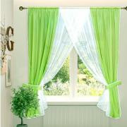 Комплект штор для кухни зеленый 180х180 см