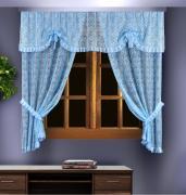 Комплект штор кухня, зажимы, цвет: голубой 88836 (125*180)*2+250*55