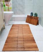 Коврик противоскользящий деревянный (термо ясень), влагостойкий для бассейна, для душа, ванны, бани, сауны. 70 см х 95см ТЕРМОДЕРЕВО
