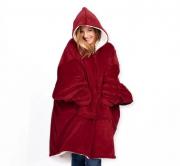 Толстовка-плед с капюшоном Huggle Hoodie (Красный)