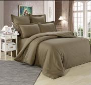 Семейный комплект постельного белья однотонный сатин коричневый