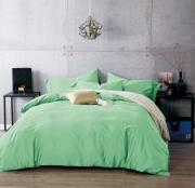 Семейный комплект постельного белья сатин однотонный зеленый