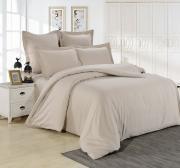 Семейный комплект постельного белья сатин однотонный бежевый