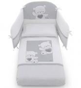 Постельное белье Italbaby Комплект белья 5 предметов Jolie, белый/серый
