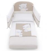 Постельное белье Italbaby Комплект белья 5 предметов Jolie, белый/серо-бежевый