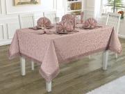 Комплект Karna KDK Скатерть прямоугольная, 160 х 220 см + Салфетки, 35 х 35 см, 8 шт, 3149/CHAR004, светло-розовый