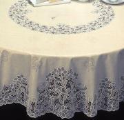 """Скатерть Towa Скатерть Towa """"Ажурная. Bloom"""", круглая, диаметр 160 см ПВХ (поливинилхлорид), 160x160 см, бледно-сиреневый"""