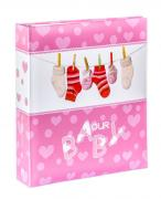 Фотоальбом детский «Носочки» на 100 магнитных страниц 23х28 см (Розовый)