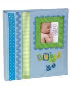 Детский фотоальбом «Baby» для мальчиков с бантом и голубой тканевой обложкой, 180 фото 10х15 см, кармашки