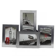Металлическая фоторамка для 4 фото 10х15, мультирамка, quattro h, серебро темное GF 4886