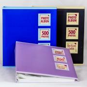 Фотоальбом однотонный с тремя окошками, 500 фото 10х15 см, кармашки