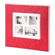 Фотоальбом-папка, альбом для фотографий с магнитными листами, 40 страниц (20 листов) 27х32, листья, коралловый GF 5060
