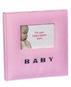 Фотоальбом детский «Baby» розовая ткань в клетку на 100 фото 10х15 см, кармашки и поля для подписей