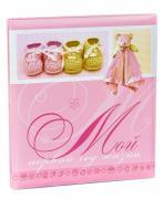 Фотоальбом розовый детский «Мой первый год жизни» розовый на 22 магнитных страницы, 28х31 см и 22 страницы-анкеты