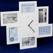 """Деревянная мультирамка """"Часы"""" белого цвета на 6 фото, 10х15 см"""