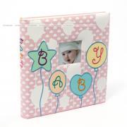 Детский фотоальбом, альбом с магнитными листами, 60 страниц 29х32, baby, шарики, розовый GF 4083