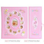 Детский комбинированный фотоальбом, альбом для фотографий 10х15, 15х21, 21х30, первый год жизни, розовый + шкатулка мамины сокровища, подарочный набор GF 4289