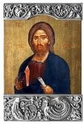 """Икона """"Спас Вседержитель"""" (13 век, Афон), с поталью, в рамке (венчальная пара)"""