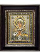 Семистрельная икона Божией Матери в деревянной рамке 26,5 х 31 см