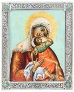 "Икона Божией Матери ""Взыграние Младенца"", посеребрённая рама с камнями"