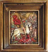 Икона великомученика Георгия Победоносца под стеклом 28 х 32 см (керамика)