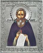 Икона Святой Сергий Радонежский, 17 век, посеребрённый оклад