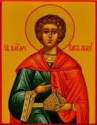 Рукописная икона Пантелеймон Целитель под старину 10 (Размер 7*9 см)