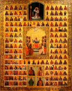 Икона Собор икон Божией Матери на дереве на левкасе