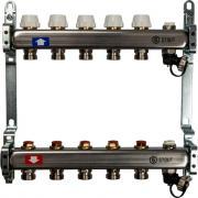 Коллектор из нержавеющей стали без расходомеров, с клапаном выпуска воздуха и сливом stout 5 выходов sms-0932-000005