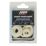 """Набор сантехнических прокладок для воды MPF 1/2"""", 3/4"""", 1"""" (резина, набор 15 шт.)"""