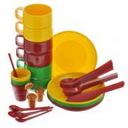 """Набор для пикника SOLARIS красный, желтый, зеленый, синий Набор посуды """"Solaris"""", на 6 персон"""