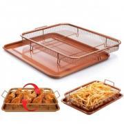 Сетка-корзинка для духовки, фритюра и барбекю Crispy Tray+ (коричневый)