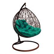 Подвесное кресло для двоих m-group с ротангом, коричневое, зеленая подушка 7930095241701