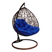 Подвесное кресло для двоих m-group с ротангом, коричневое, синяя подушка 7930095241695