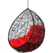 Подвесное кресло Bigarden Tropica черное без стойки красная подушка
