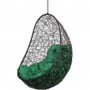 Подвесное кресло Bigarden Easy черное без стойки зеленая подушка