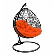 Подвесное кресло для двоих m-group с ротангом, черное, оранжевая подушка 7930095241756