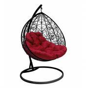 Подвесное кресло для двоих m-group с ротангом, черное, бордовая подушка 7930095241794