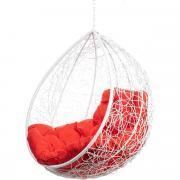 Подвесное кресло Bigarden Tropica белое без стойки красная подушка
