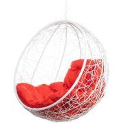 Подвесное кресло bigarden kokos white bs, красная подушка