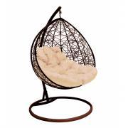Подвесное кресло для двоих m-group с ротангом, коричневое, бежевая подушка 7930095241718