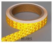 Светоотражающая лента, самоклеящаяся, желтая, 2 см х 8 м