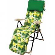 Кресло-шезлонг складное с подножкой и матрасом Haushalt HHK-5/L - принт с лимонами